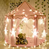 Kids Indoor Princess Castle Play Tents,aPerfectLife Outdoor Portable Large Playhouse with LED Star Lights,Perfect Indoor Toys Gift for Child Toddlers(Pink) (Pink)