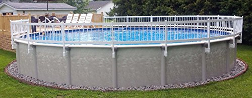 """VinylWorks Canada 24"""" White Above Ground Pool Fence 8 Section Base Kit"""