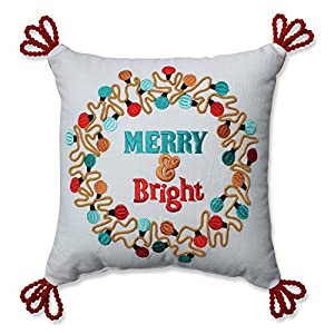 Pillow Perfect Christmas Lights Wreath Red-Aqua 11.5-inch Throw Pillow 105