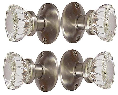 (Two Sets - Perfect Reproduction of the 1920 Depression Crystal Glass FRENCH DOOR Knob Sets - Each lot contains all the hardware for knobs on both sides of Two French Door.)