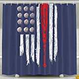 Baseball US America Flag Shower Curtain Fabric Bathroom Shower Curtain Set,72x60 Inch