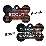 InstaPetTags American Flag Custom Double Sided Pet Id Dog Tag Personalized for Your Pet