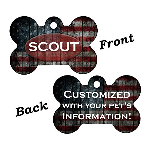 American Pet Tags - InstaPetTags American Flag Custom Double Sided Pet Id Dog Tag Personalized for Your Pet