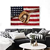 "Baseball Canvas Wall Art Vintage Baseball League Equipment USA Grunge Glove Bat Fielding Sports Theme Print Paintings for Home Wall Office Decor 36""x32"" Brown Red Blue"