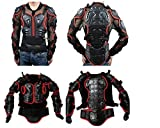 Anweer Motorcycle Protective Jacket Motorcycle Full Body Armor Protector Pro Street Motocross ATV Guard Shirt Jacket for Men (Black-Red, XXL)