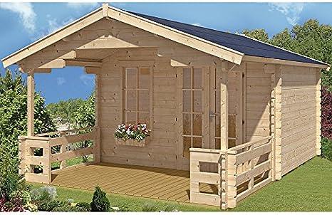 SKAN HOLZ Europe Gmbh Cabaña Madera Listones Casa Larga de Leigh tamaño 2, 340 x 300 cm: Amazon.es: Jardín