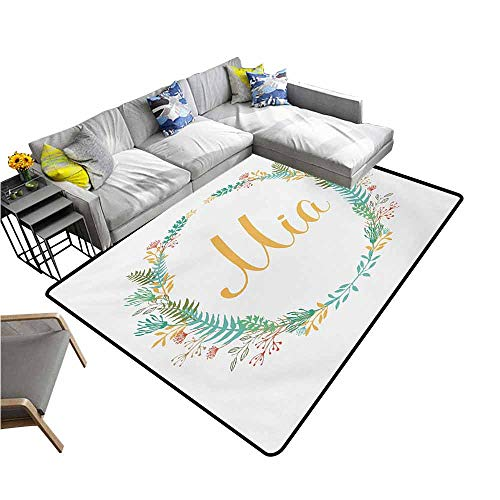 - Dining Table Rugs Mia,Frame of Flowers and Ferns Pattern with Handwriting Calligraphy Design Cursive Alphabet,Multicolor 60