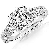 1.55 CTW Vintage Halo Style Channel Set Round Brilliant Diamond Engagement Ring Milgrain w/ 0.8 Ct Princess Cut G Color VS2 Clarity Center