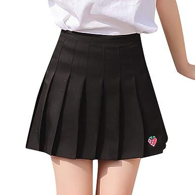 Feitengtd Mini Faldas para niñas, Falda Plisada de Fresa de Verano ...