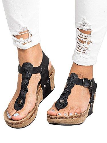 Pxmoda Women's Boho Braided Wedge Sandals Casual T-Strap Wedge Heel Sandal Shoes (US 9, Black)