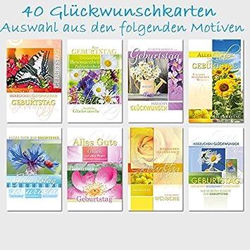 40 Glückwunschkarten Geburtstag Spruch Blumen 115 X 175 Amazonde