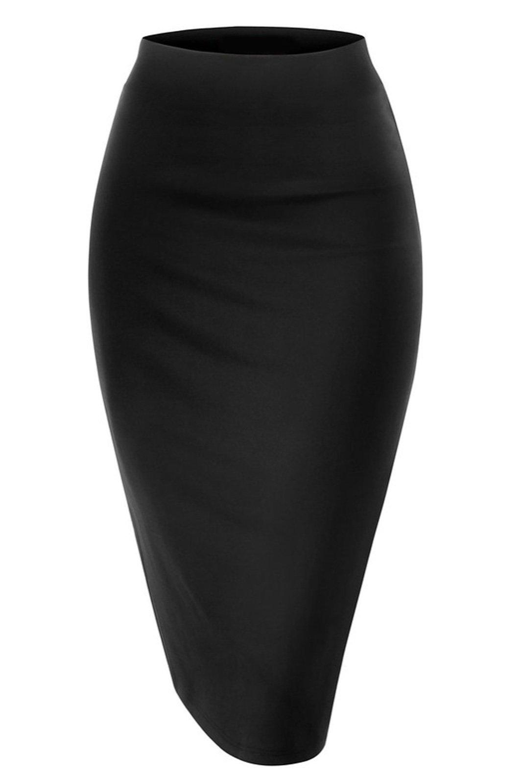 Women Elastic Waist Band Stretchy Fabric Pencil Skirt (Medium, Black)
