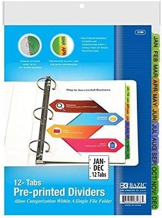 3 Pk, BAZIC 3-Ring Binder Dividers W 12-Preprinted Jan-Dec Tab