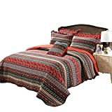 HOLY HOME Bedspread/Quilted Coverlet 3 Pieces Cotton Luxury Bedclothes American Style Vintage Embroidery (Queen Size 98x90in, Red)