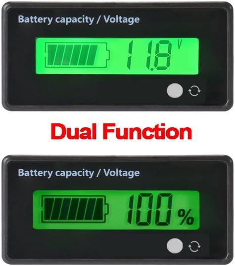 Medidor de batería digital Capacidad de voltaje Medidor,12V / 24V / 36V / 48V LCD Medidor de capacidad de batería de plomo, 3.7V Medidor de litio Monitor de indicador de batería para vehículo