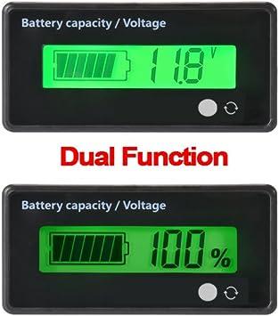 Voiture Plomb-Acide Batterie Tension Voltm/ètre Moniteur Compteur LCD 12V//24V//36V Bleu Mini voltm/ètre testeur Test num/érique Voltage Batterie