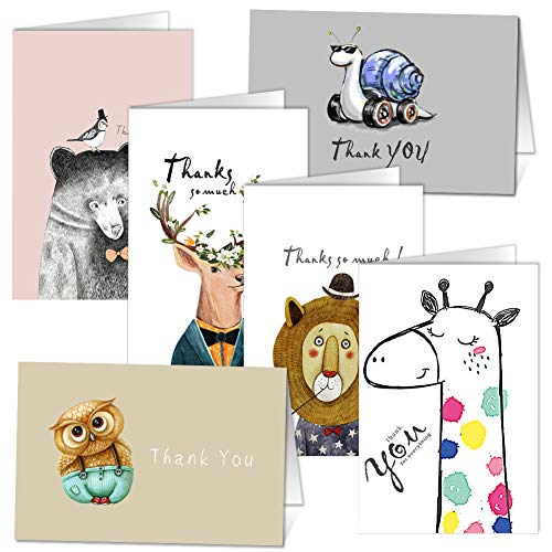 Thank You Cards - Set of 36 Animal Thank You Note Greeting Cards by KUMY with Kraft Envelopes for Baby Shower Thanksgiving Day Christmas Holiday Greeting, Blank Inside 4 x 6 Inches, 6 Designs - 6 Card]()