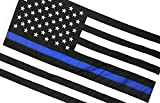 Thin Blue Line American Flag, Sewn & Embroidered (6 x 10 Feet, Thin Blue Line)