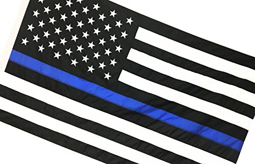 Thin Blue Line American Flag, Sewn & Embroidered (5 x 8 Feet, Thin Blue Line) Review