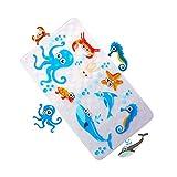 MYQIANG Bath Mat Non Slip for Kids/Baby/Children Anti Slip Shower Tub Mat Anti Mould Antibacterial,with Powerful Grip Suction Cups,Environmental PVC,70 x 40 cm(Fish)