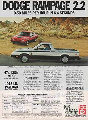 """Magazine Print Ad: 1983 Dodge Rampage 2.2 L, Personal Size Pickup,""""0-50 Miles Per Hour in 6.4 Seconds"""""""