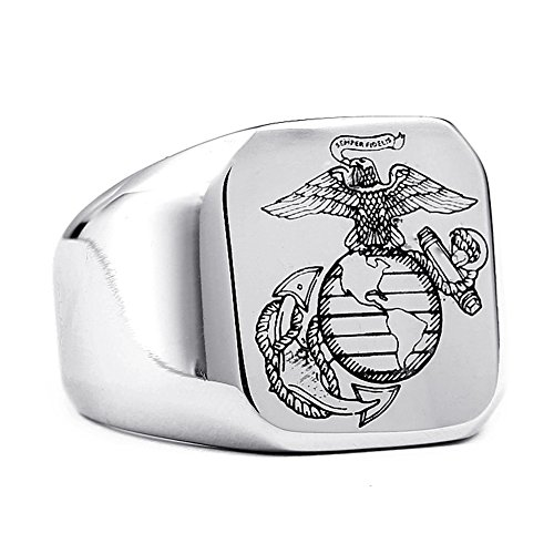 - USMC US Marine Corps Marines Emblem Mens Solid Silver Stainless Steel Ring