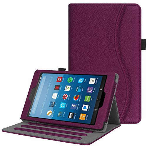 Fintie Case for All-New Amazon Fire HD 8 Tablet (7th and 8th Generation Tablets, 2017 and 2018 Releases) - [Multi-Angle Viewing] Folio Stand Cover with Pocket Auto Wake/Sleep, Purple (Lime Kindle Fire Case)