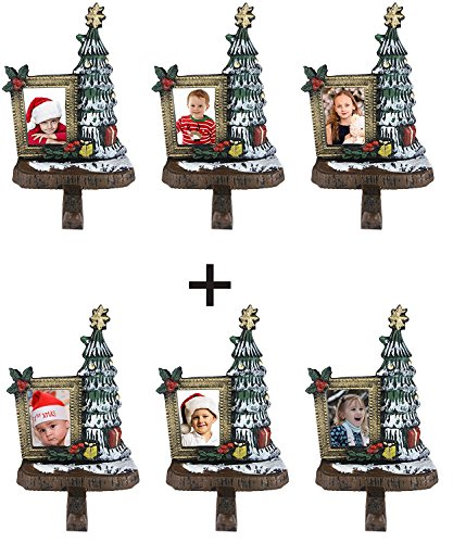 Lulu Decor, Cast Iron Decorative Christmas Tree Stocking Holder, combo deal of 6 trees with wallet size photo frame 3''x 2'', Beautiful Solid product, Perfect for Holiday gifts (6 Trees Frame) by LuLu