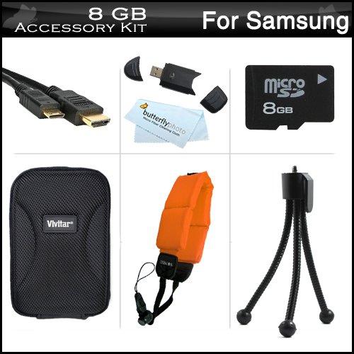 8GB Accessories Kit For Samsung HMX-W200 Waterproof HD Pocke