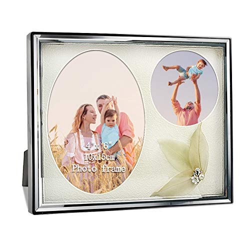 PETAFLOP Double Picture Frames 4x6 Family Picture Frame Wall Mounting and Tabletop Display, Beveled Glass Front