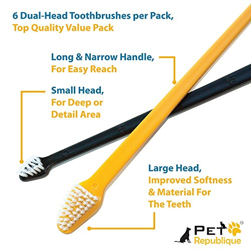 Pet-Republique-Cat-Dog-Toothbrush-Set-of-3-6--Dual-Headed-Dental-Hygiene-Brushes-for-Small-to-Large-Dogs-Cats-Most-Pets-Dual-Headed-Set-of-6