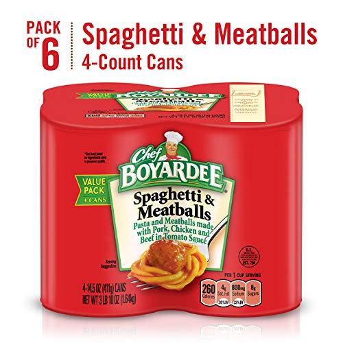 Chef Boyardee Spaghetti and Meatballs, 4 Count (Pack of 6)