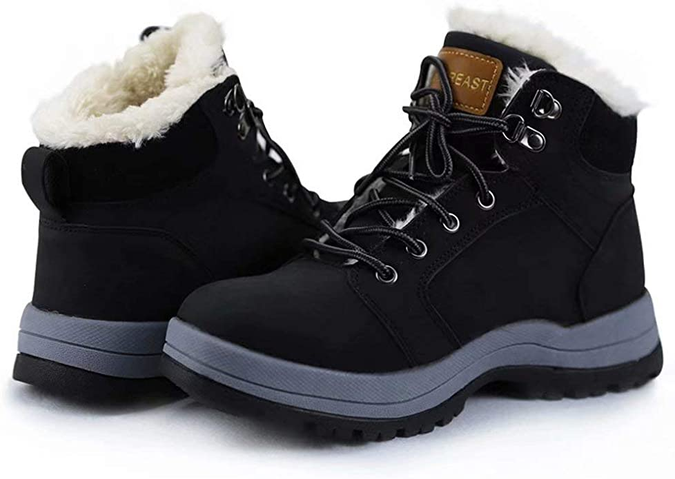 UNN Snow Boots for Men Women Lace-up Winter Outdoor Anti Slip Waterproof Ankle Booties with Warm Fully Fur