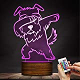Carl Artbay Schnauzer 3D Optical Illusion Night Light, USB Table Lamp Dog Animal LED Light for Kids Room Decor and Gifts