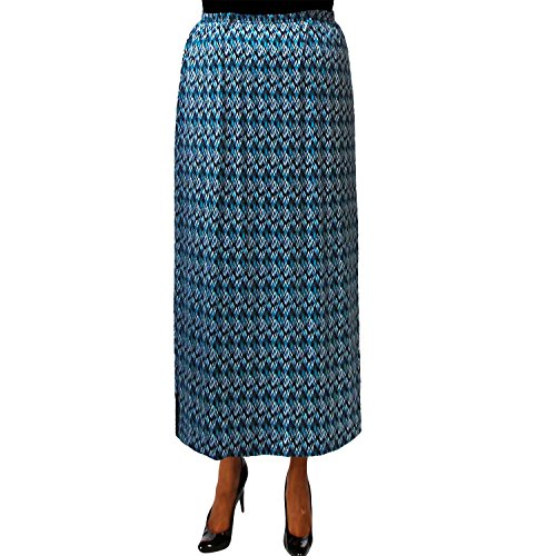 A Personal Touch Women's Plus Size Teal Lightning Elastic Waist Maxi Skirt - 5X