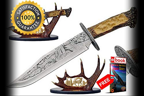 15'' Deer Bowie SHARP KNIFE with Antler Display Father's Day Gift Hunter Collection Combat Tactical Knife + eBOOK by Moon ()