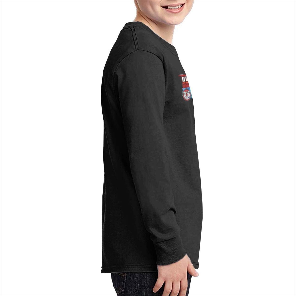 Qiop Nee Blue Red Steam Train Long Sleeves Shirts for Girls