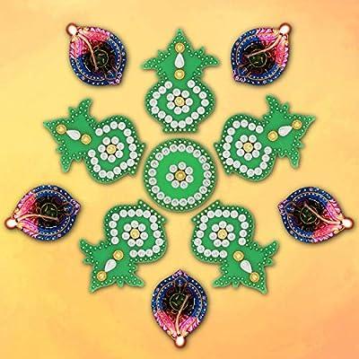 Magenta Aheli Handmade Faux Stone Studded Acrylic Rangoli Floor Door Decorations Indian Traditional Diwali Festival Home Decor