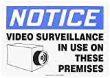 Accuform MASE801VA Aluminum Safety Sign, Legend''NOTICE VIDEO SURVEILLANCE IN USE ON THESE PREMISES'' with Graphic, 10'' Length x 14'' Width, Blue/Black on White