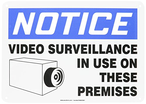 Accuform MASE801VA Aluminum Safety Sign, Legend''NOTICE VIDEO SURVEILLANCE IN USE ON THESE PREMISES'' with Graphic, 10'' Length x 14'' Width, Blue/Black on White by Accuform Signs