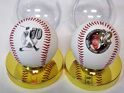 MLSPA Sold Together Two 1998 Mark McGwire FotoBall Collector Baseballs with Stand