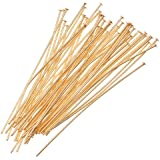 Beadaholique 50-Piece Head Pins, 21-Gauge, 2-Inch, 22K Gold Plated