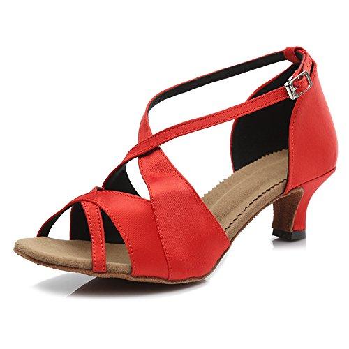 Hroyl Donna Scarpe Da Ballo Latino Tacco Medio Raso Tango Sala Da Ballo Ty-b62 5cm Rosso