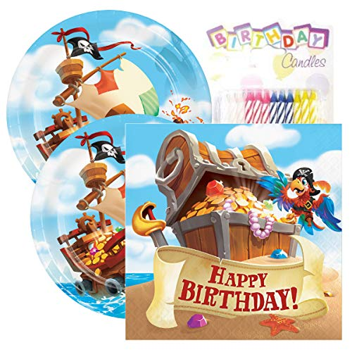 (Pirate Treasure Themed Party Pack - Includes Paper Plates & Luncheon Napkins Plus 24 Birthday Candles - Servers 16)