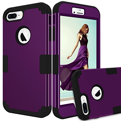 iPhone 8 Plus Case, GPROVA [Drop Protection] [Dual Layer] 3 in 1 Shockproof Hybrid Heavy Duty High Impact Hard Plastic +Soft Silicon Rubber Armor Defender Case Cover for iPhone 8 Plus (Purple+Black) (Purple 4s Iphone Case Speck)