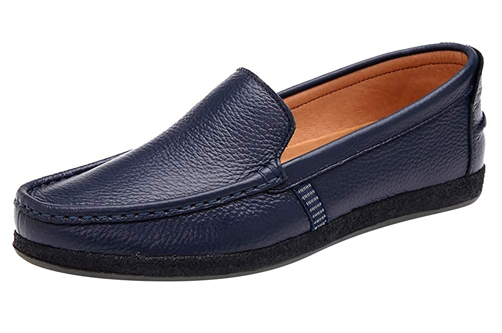 AGOWOO Men Casual Slip On Rubber Sole Soft Leather Shoes Loafers