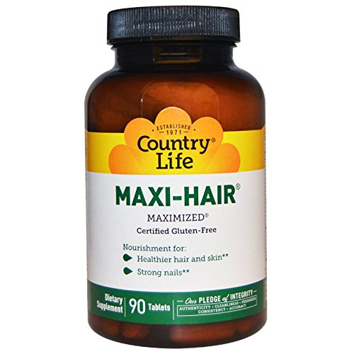 Country Life - Maxi-Hair, Strengthens Hair, Skin, and Nails - 90 Tablets. -