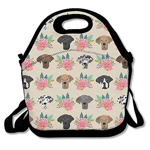 Great Dane Flora Lunch Bag Lunch Tote Lunch Pouch Handbag Made for Women, Men and Kids
