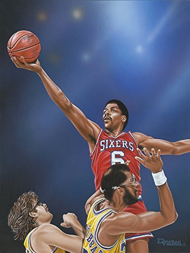 BuyartforlessキャンバスDr J Going to the Rim by Darryl Vlasak 32 x 24絵画印刷WrappedキャンバスMemorabilia Basketball Legend Julius Irving 76ers。Made In The USA 。 B076C47SFB