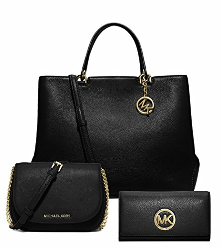 Michael Kors Stylish Waterproof Mutifunction Large Annabelle Tote Bedford Small Crossbody bag Fulton Carryall Wallet 3Pcs Set Black